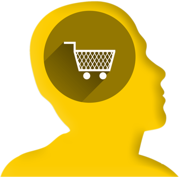 Yellow head with shopping cart inside