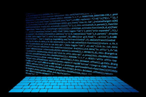 Black background with blue keyboard and blue code as computer screen